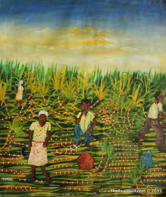 A variety of Haitian paintings in many styles and canvas sizes.