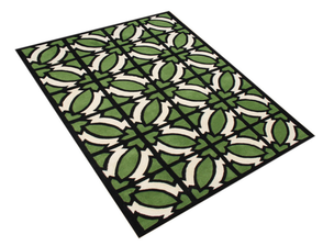 geometric pulitzer rug from houzz, 8 x 10 rug for playroom, playroom inspiration, wool rug, green, beige, black run, carpet, area rug