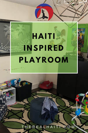 haiti inspired playroom by the real haiti, playroom, caribbean, tropical, upcycled art, papier mache, paintings, haitian art, coastal