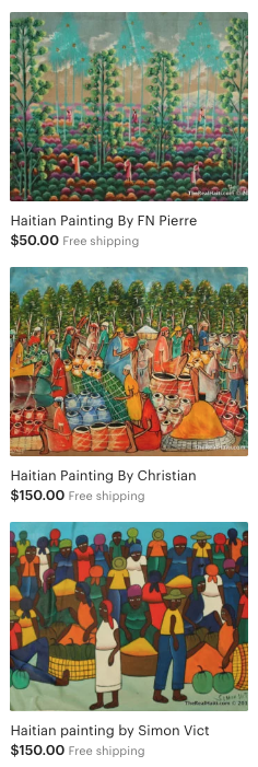 haitian art, affordable, ship from u.s., unique paintings, ayiti, haiti, haitian painter, free shipping