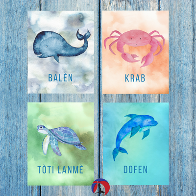 sea creature art prints, customizable art for kid's room, playroom, haitian creole art, haitian painting, nursery decor