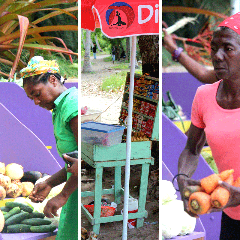 snack stand in haiti, haitian food, vegetable, fruit market, mache, woman shopping for veggies, handmade, natural, organic