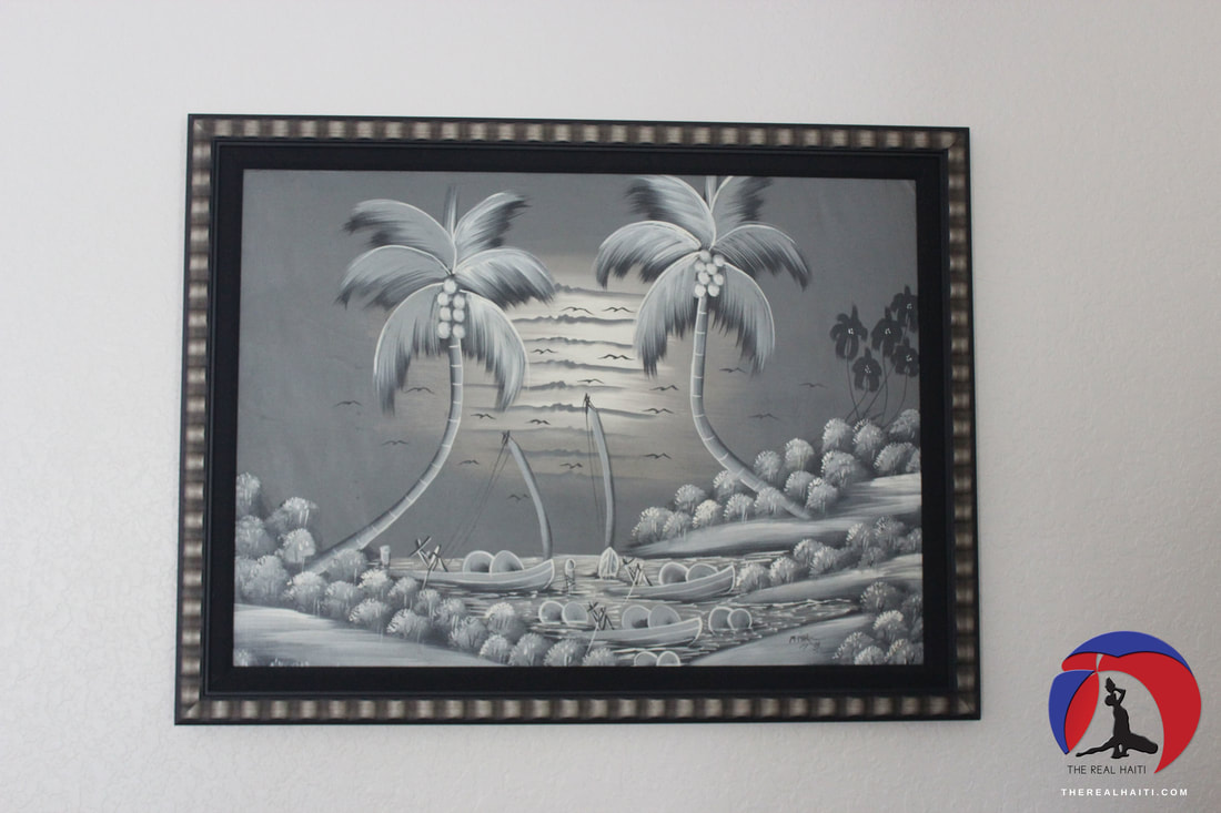 haitian art, haiti, inspired decor, caribbean art, tropical, palm tree painting, beach house, beach art, island art, vibes, black and white, boats, custom frame by michaels, playroom decor, haitian inspired playroom