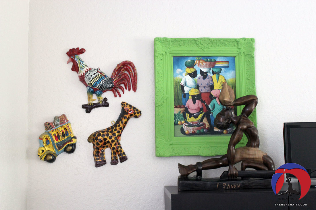 papier mache art, giraffe, taptap bus, haitian taxi, rooster, chicken, caribbean, jungle, haitian woman painting, neg mawon sculpture, big wood art, upcycled picture fram, thrifting, goodwill find, furniture redo, haiti babi blanket, handmade items from haiti, haitian art, play room, caribbean inspired playroom, grey and turquoise blanket, nursery, toddler room, bedroom, haiti inspired home decor